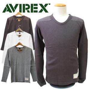 AVIREX 長袖  RIB COMMAND V-NECK T-SHIRT ロングスリーブ リブ コマンド Vネック ティーシャツ ミリタリー メンズ|mitoman
