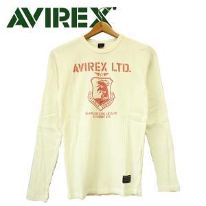 AVIREX  リブ プリント クルーネック Tシャツ 長袖 ホワイト メンズ アメカジ|mitoman