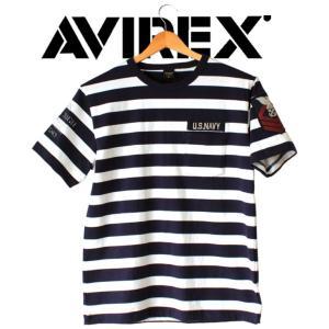 AVIREX アビレックス  Tシャツ 半袖  ポケット付き  ボーダー メンズ  NAVAL PATCH CREW NECK T-SHIRT|mitoman