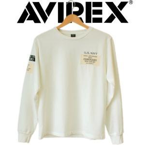 長袖tシャツ メンズ ブランド AVIREX アヴィレックス L/S WAPPEN STENCIL T-SHIRT U.S.NAVY SEALS ミリタリー ワッペン アビレックス|mitoman