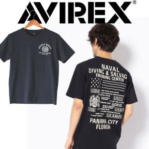 半袖tシャツ メンズ ブランド AVIREX アヴィレックス DIVING & SALVAGE 刺繍 Tシャツ ミリタリー アメカジ U.S.NAVY ダイバー パナマ フロリダ 潜水|mitoman