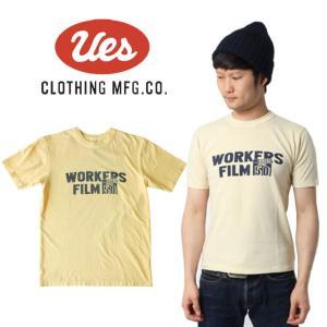 UES ウエス  WORKERS FILM  S/S Tee 半袖Tシャツ ロゴ アメカジ オーガニック シンプル made in JAPAN 日本製 651820 オフホワイト|mitoman