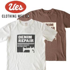 UES ウエス DENIM REPAIR S/S Tee 半袖Tシャツ ロゴ アメカジ オーガニック シンプル made in JAPAN 日本製 651824 白 黒|mitoman