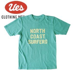 UES ウエス NORTH COAST S/S Tee 半袖Tシャツ ロゴ アメカジ オーガニック シンプル made in JAPAN 日本製 651827 サックス|mitoman