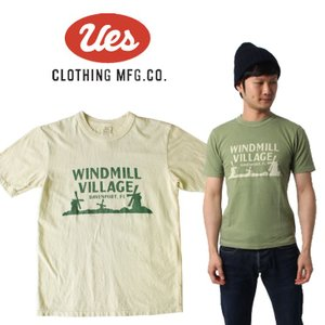UES ウエス WINDMILL VIL  S/S Tee 半袖Tシャツ ロゴ アメカジ オーガニック シンプル made in JAPAN 日本製 651830|mitoman