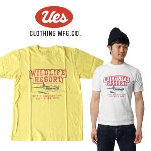 UES ウエス WILD LIFE S/S Tee 半袖Tシャツ ロゴ アメカジ オーガニック シンプル made in JAPAN 日本製 651831 白 ホワイト 黄色 イエロー|mitoman
