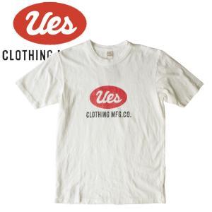 UES ウエス ビッグロゴ S/S Tee 半袖Tシャツ プリント アメカジ オーガニック シンプル made in JAPAN 日本製 651848白 ホワイト|mitoman
