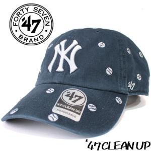 ローキャップ  クリーンナップ  ネイビー Yankees Confetti メンズ レディース フォーティセブン スナップバック 刺繍 NY|mitoman