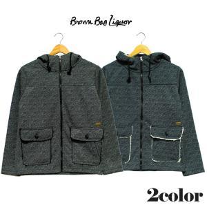 BROWN BAG LIQUOR ブラウンバッグリカー  ツイードプリントボアフードジャケット/マウンテンパーカー ブラック ネイビー アウター|mitoman