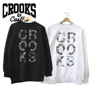 CROOKS&CASTLES クルックスアンドキャッスルズ スウェット Tシャツ 長袖 トレーナー ロゴ プリント ブラック ホワイト メンズ ストリート|mitoman