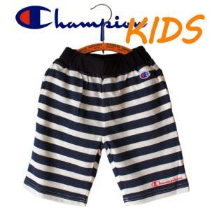 Champion チャンピオン kids キッズ 子供服 ボーダー ハーフパンツ 半ズボン ロゴ|mitoman