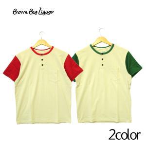 BROWN BAG LIQUOR ブラウンバッグリカー  ヘンリーネック ポケット 半袖 Tシャツ オートミール レッド グリーン メンズ 無地 ストリート シンプル|mitoman