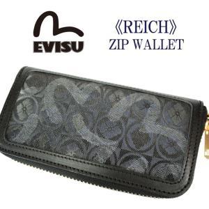 エヴィス 長財布 ラウンドジップ ロングウォレット REICH ZIP WALLET カモメ 革 ロゴ 人気 ブランド 黒 ブラック EML-0057YM EML0057YM|mitoman