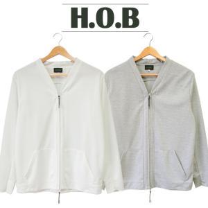 ジップアップ カーディガン メンズ H.O.B エイチオービー 男性 無地 シンプル 羽織 薄手 人気 ブランド ライン グレー ホワイト H1-74041 mitoman