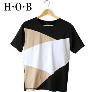 H・O・B エイチオービー バイアス パネル 切り替え Tシャツ 個性的 カットソー メンズ 半袖 hob カラーブロック シンプル モード 大人カジュアル mitoman