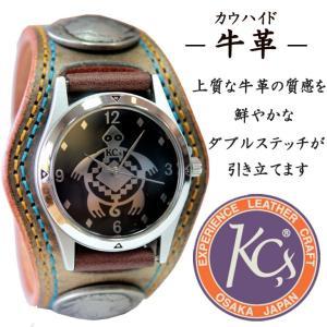KC'S ケーシーズ ケイシーズ 腕時計 革 レザー 男女兼用 ウィメンズ プレゼント コンチョ インディアン 古銭 ダブルステッチ 刺繍|mitoman