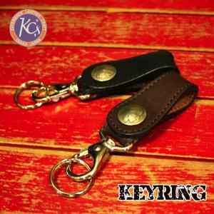 KC'S ケーシーズ ワンタッチキーリング 牛革 コンチョ ブラウン ブラック ベルトループ型 レザー|mitoman