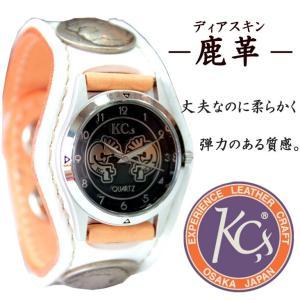 KC'S ケーシーズ ケイシーズ 腕時計 革 レザー 牛革 男女兼用 ウィメンズ プレゼント コンチョ インディアン 古銭 ディアスキン 鹿革 シンプル|mitoman