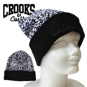 CROOKS&CASTLES×NEWERA  ロゴ 刺繍 ニットキャップ ミックスカラー ブラック ホワイト メンズ ストリート mitoman