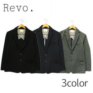 Revo. レヴォ テーラードジャケット ブラック グレー ネイビー 無地 メンズ カジュアル ポンチ素材|mitoman