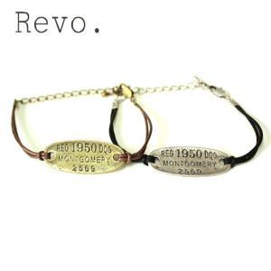 Revo. レヴォ アンティークプレート × レザーブレスレット メンズ レディース レザー ドックタグ ゴールド シルバー|mitoman