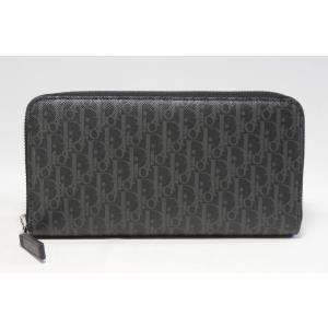 ディオールオム ファスナー長財布 ブラック ダークライトコーティングキャンバス 2DEBC 011XIS H02G Dior Homme|mitoyo