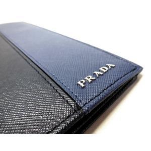quality design a1dad f5c23 プラダ メンズ長財布 サフィアーノ・カラー ネイビーブルー+ブリュエット 2M0836_1SP_F0S9K ドキュメントケース PRADA