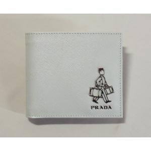 プラダ メンズ折り財布 ホワイト サフィアーノ 2MO513 9Z2 F0K74 SAFFIANO TRAVEL PRADA|mitoyo