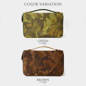 マルチオーガナイザー バッグ スエード 牛革 大型ウォレット 小型セカンドバッグ グリーン ブラウンBS-2466 mitsuami-shop