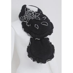 マフラー レディース amitie アミティエ 黒+オフ フリル ボア 花飾り AM172682 mitsuki-web