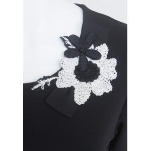 プルオーバー レディース amitie アミティエ 黒 花飾り リボン AM172984|mitsuki-web|06
