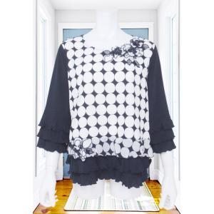 Tシャツ レディース BelPaci ベルパーチ 紺 サークル刺繍 花モチーフ 段フリル BP51475|mitsuki-web
