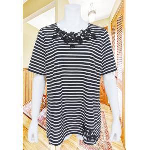 Tシャツ レディース BelPaci ベルパーチ 黒 ボーダー 花モチーフ リボン BP51497|mitsuki-web