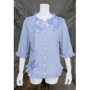ブラウス レディース BelPaci ベルパーチ ブルー 花飾り フリル 通気性 BP51510|mitsuki-web