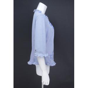 ブラウス レディース BelPaci ベルパーチ ブルー 花飾り フリル 通気性 BP51510|mitsuki-web|02