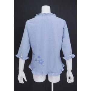ブラウス レディース BelPaci ベルパーチ ブルー 花飾り フリル 通気性 BP51510|mitsuki-web|03