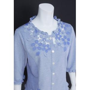 ブラウス レディース BelPaci ベルパーチ ブルー 花飾り フリル 通気性 BP51510|mitsuki-web|04