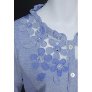 ブラウス レディース BelPaci ベルパーチ ブルー 花飾り フリル 通気性 BP51510|mitsuki-web|05