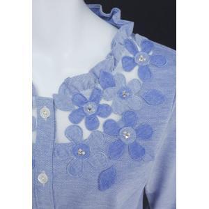 ブラウス レディース BelPaci ベルパーチ ブルー 花飾り フリル 通気性 BP51510|mitsuki-web|06