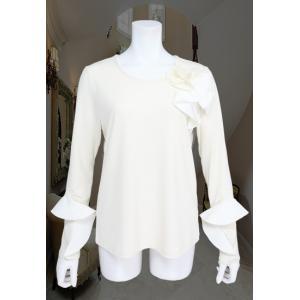 Tシャツ レディース BelPaci ベルパーチ オフ 花飾り フリル 長袖 BP51522|mitsuki-web