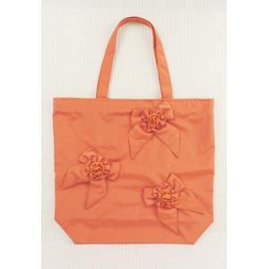 ショッピングバッグ レディース CRESSON クレソン オレンジ リボン花 C22319|mitsuki-web