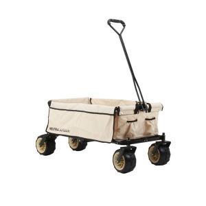 キャンプサイトへ荷物を運ぶのに便利な、折りたたみ式キャリーカート。幅広で溝付きのタイヤを採用。個性的...