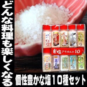 父の日 岩塩アラカルト10 10種 お試しサイズ5g 送料無料 紅塩 天ぷら塩、抹茶塩、焼肉塩など色...