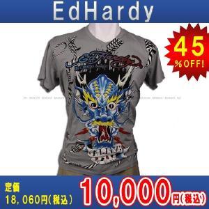 【エントリーで10%付与 2/26 0:00〜2/28 23:59】 エドハーディー Ed Hardy T-SHIRT トップスTシャツGRAY・グレー あすつく|mixon