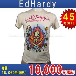 【エントリーで10%付与 2/26 0:00〜2/28 23:59】 エドハーディー Ed Hardy T-SHIRT トップスTシャツIVORY・アイボリー あすつく|mixon