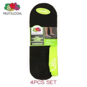 フルーツオブザルーム FRUIT OF THE LOOM 正規品 靴下 MENS INVISIBLE LINER SOCKS 4PAIRS M7106B4Z BLACK Size.6-12|mixon