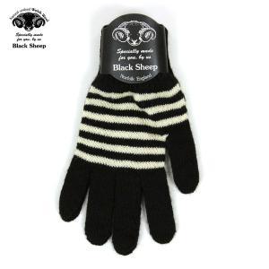 ブラックシープ BLACK SHEEP メンズ 手袋 M STRIPE KNIT GLOVE SGL07B JET-ECRU|mixon