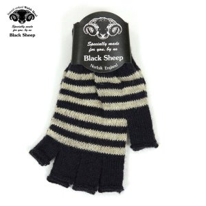 【エントリーで5%付与 4/6 0:00〜4/9 23:59】 ブラックシープ BLACK SHEEP メンズ 手袋 M STRIPE FINGERLESS KNIT GLOVE SFM NAVY-LIGHT GREY|mixon