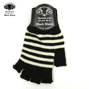 【エントリーで5%付与 4/6 0:00〜4/9 23:59】 ブラックシープ BLACK SHEEP メンズ 手袋 M STRIPE FINGERLESS KNIT GLOVE SFM JET-ECRU|mixon