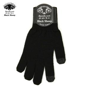 ブラックシープ BLACK SHEEP メンズ 手袋 M SMART PHONE KNIT GLOVE MGL JET|mixon